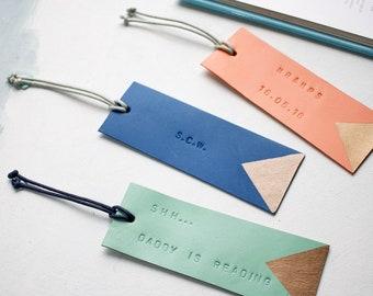 Luxury Leather Personalised Bookmark
