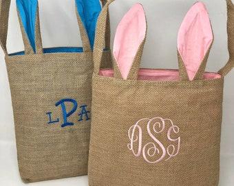 Monogrammed Easter basket/ burlap bag