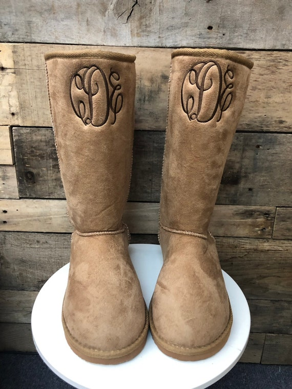 Monogrammed womens faux fur lined boots