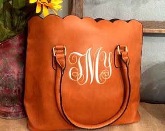 Monogrammed scalloped purse/handbag/ tote