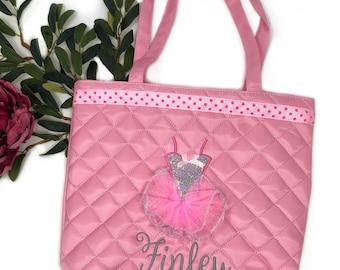 Monogrammed little ballerina dance bag | dance tote bag for little girls