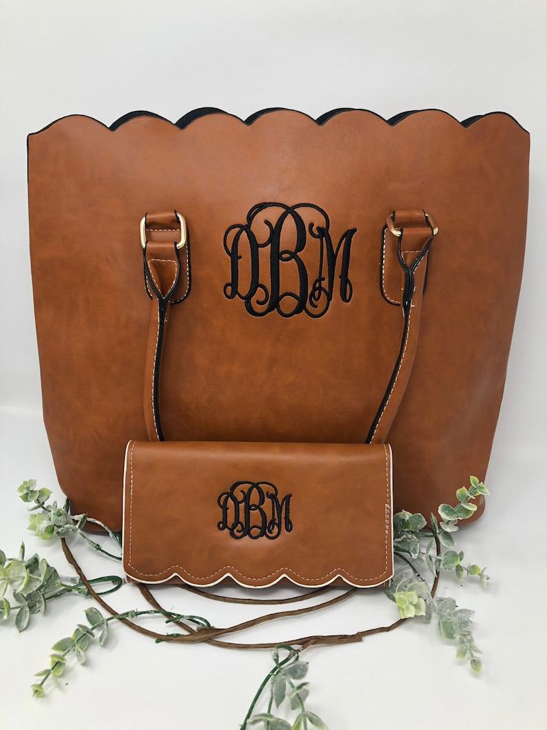handbag for women work bag for women school bag for women Monogrammed scalloped tote bag women\u2019s leather handbag