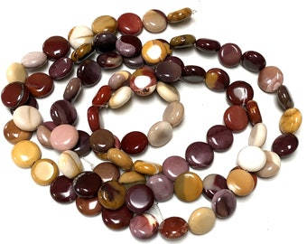 "Mookaite Jasper 15mm coin beads polished natural gemstones 15.5"" strand"