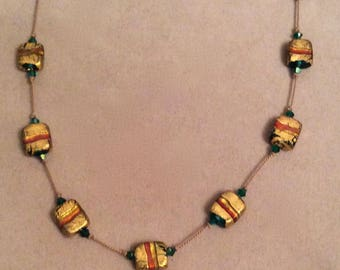 """Handblown Venetian Glass """"Italian Flag"""" Necklace and Earring Set Hand Knotted on Silk  Designed and Handcrafted by Andrea Comsky"""
