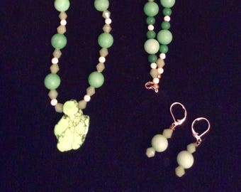 Green Turquoise Green Bead Long Strand and Earring Set   Handcrafted by Andrea Comsky