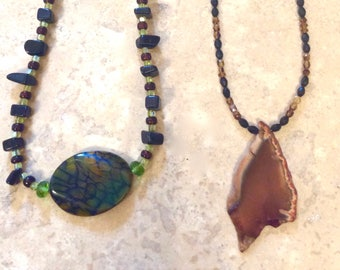 Handcrafted Agate Necklaces with Gemstones and Crystals by Andrea Comsky