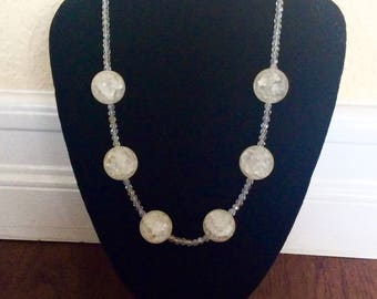 Handmade White Cracked Crystal Necklace by Andrea Comsky
