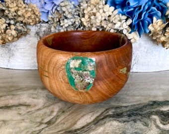 Hand Carved Rustic Avocado Wood Bowl with Mother of Pearl and Turquoise Inlay, by Jack Cousin