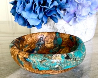 Hand Carved Gemstone and Root Olive Wood Bowl by Jack Cousin