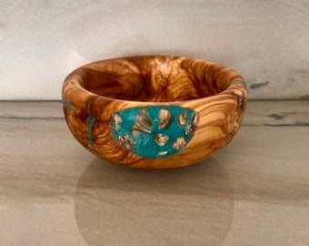 Hand Carved Olive Wood Bowl with Mother of Pearl and Turquoise Stone Inlay, by Jack Cousin