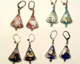 Handblown Venetian Glass Earrings with Swarovski Crystals  14k Gold Foil and Pure Silver Foil  Custom Designed and Handmade