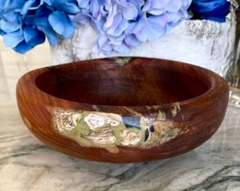 Hand Carved Avocado Wood Bowl with Mother of Pearl and Malachite Inlay by Jack Cousin