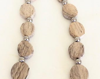 Hand Carved Spalted Tamarind Wood and Sterling Silver Strand by Jack Cousin
