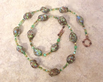 Handblown Green and Gold Venetian Glass Strand with 24K Gold Foil and Crystals Handmade by Andrea Comsky