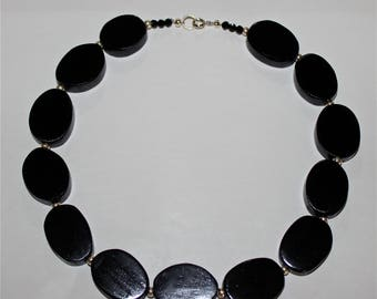 """Hand Carved Solid Ebony """"Fingerboard"""" Necklace and Earring Set  by Jack Cousin"""
