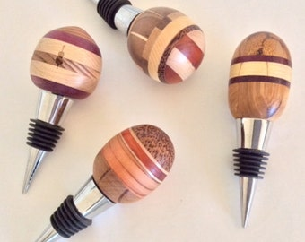 """WINE BOTTLE STOPPERS  """"Cabernet Fields""""   Hand Carved by Jack Cousin, Fine Art Woodworker & Musician, Los Angeles Philharmonic"""
