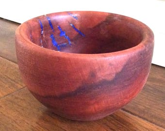 Hand Carved Redwood and Lapis Bowl by Jack Cousin