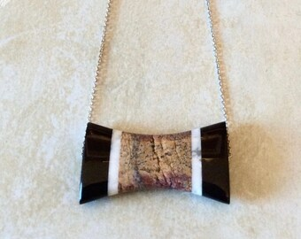 """Porcelain """"Bow"""" Necklace   Handmade by Andrea Comsky"""