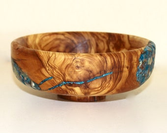 Hand Carved Olive Wood and Gemstone Bowl by Jack Cousin