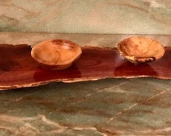 Salt and Seasonings Olive Wood Bowls with Gemstones on Eucalyptus Wood Tray Hand Carved by Jack Cousin
