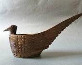 Vintage wooden folk carved bowl bird shape