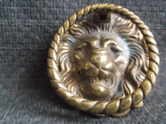 Solid Brass Lion Head Door Knocker And Lock Cover | Etsy