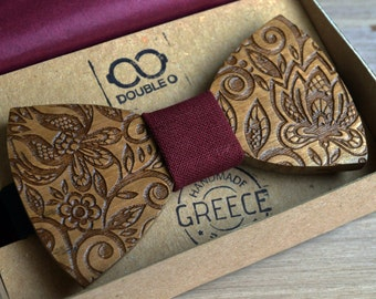 Handmade Wooden Bow Tie | Sizes for Adult, Child and Baby | Adjustable Elastic Strap |Walnut wood|Wooden Bowtie | Made in Crete-Greece
