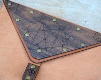 HANDMADE Wooden-Leather CLUTCH bag || Walnut  Wood or Zebrano wood | 100% Real Leather |Geo design | handmade in Crete-Greece