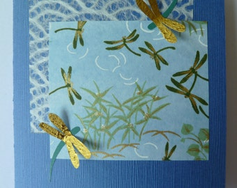 Handmade Blank Card with Dragonfly Design (Chiyogami and Paper)
