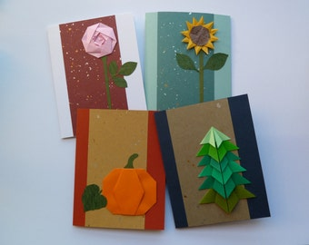 Four Seasons Greeting Card Set, Set of 4, Origami Flora, Handmade, Rose, Sunflower, Pumpkin, Evergreen Tree, Blank Cards, Four Cards