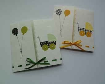 Gender-neutral Handmade Card for Baby Shower or Congratulations on the Birth of a Baby (with ribbon and rhinestones)
