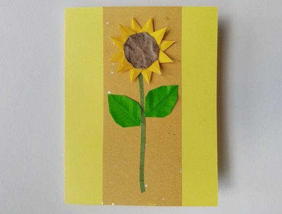 Handmade Sunflower Origami Card Blank Yellow With Japanese Etsy