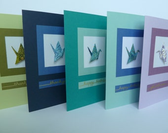 Handmade Greeting Card with Framed Origami Crane (chiyogami and linen card stock)
