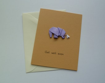 Get Well Soon Origami Elephant Card, Handmade, Handkerchief, Cute, Kawaii, Speedy Recovery for Sick Patient