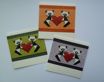 Origami Panda Wedding, Engagement or Love Card with Japanese Paper, Handmade, Blank Inside