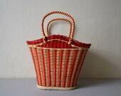 Vintage wicker basket red and white rockabilly basket