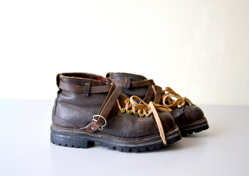 a9d6e91caf38e Vintage Mountaineering Shoes / french Hiking Shoes / Mountain Vibram  Leather Boots / 60s - 70s / US Size 43