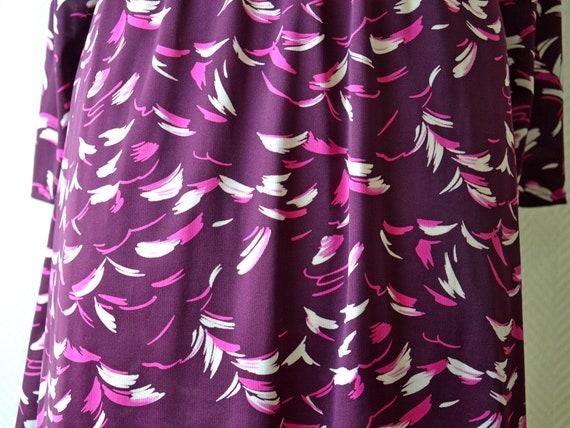 Vintage purple polyester dress / Size 40 / 70s - image 7