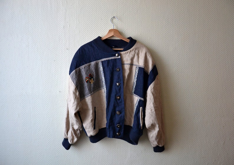 Traditional German Trachten Mal/'d jacket  folklore patchwork costume 80s  size XL