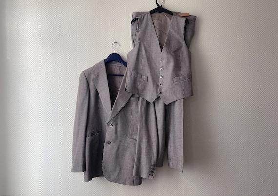 Vintage French 3-piece suit 70s / Tuxedo jacket, v