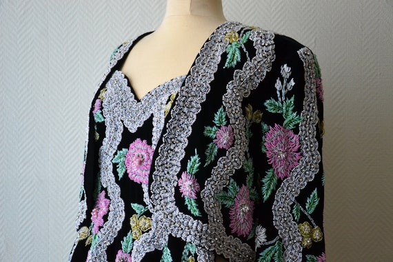 Vintage black velvet bead embroidered suit / dress