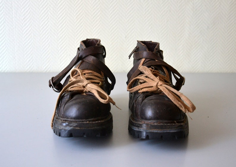 d7e5c7a9fbd56 Vintage Mountaineering Shoes / french Hiking Shoes / Mountain Vibram  Leather Boots / 60s - 70s / US Size 9.5