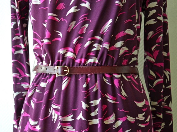 Vintage purple polyester dress / Size 40 / 70s - image 5