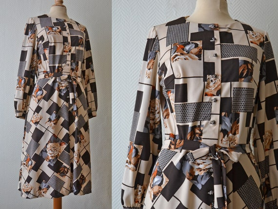 Vintage polyester dress with patchwork pattern / S