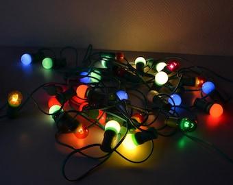 Vintage light string / exterior or interior light garland / decorative colors bulbs