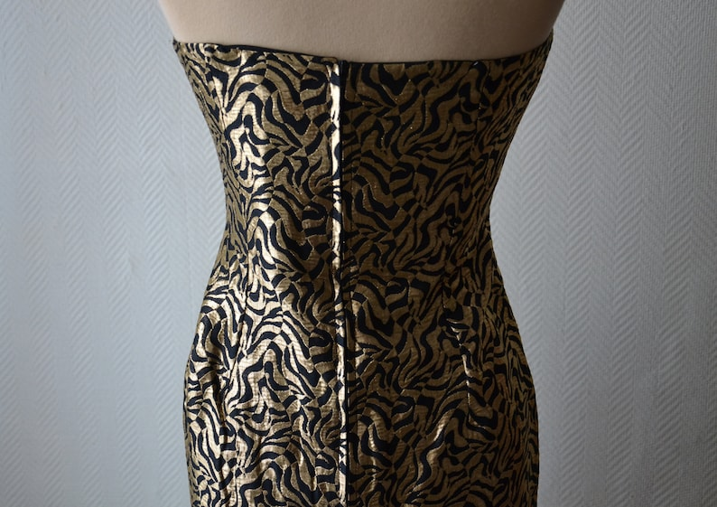 Elaine Closs  Black and Gold Strap Bustier Cocktail Dress  70s