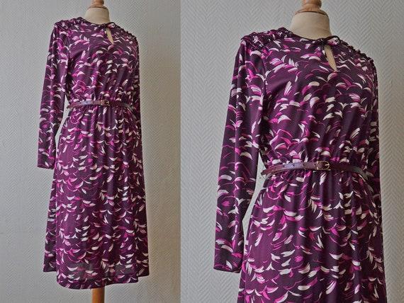 Vintage purple polyester dress / Size 40 / 70s - image 1