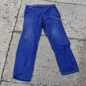 Vintage French chore pants MONT ROUGE   blue indigo work trousers  size medium