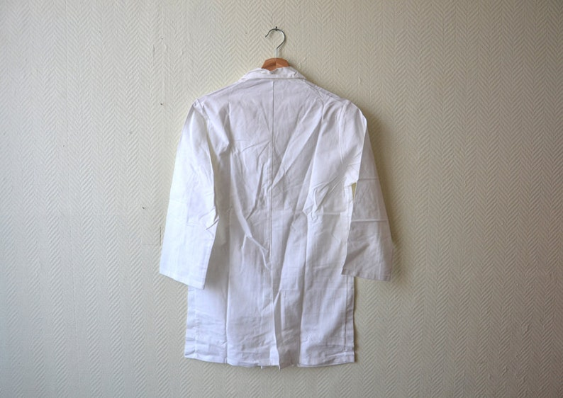 Vintage white Work shirt  Long Workers Clothing WorkWear  French cotton overall  woman size S