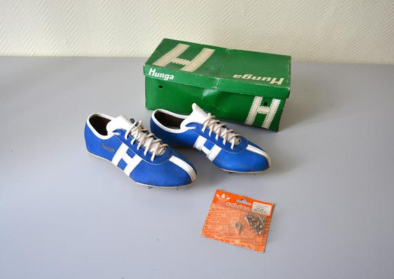 Pointes d'athletisme HUNGA Jet Blue chaussures vintage made in France boite d'origine taille 40